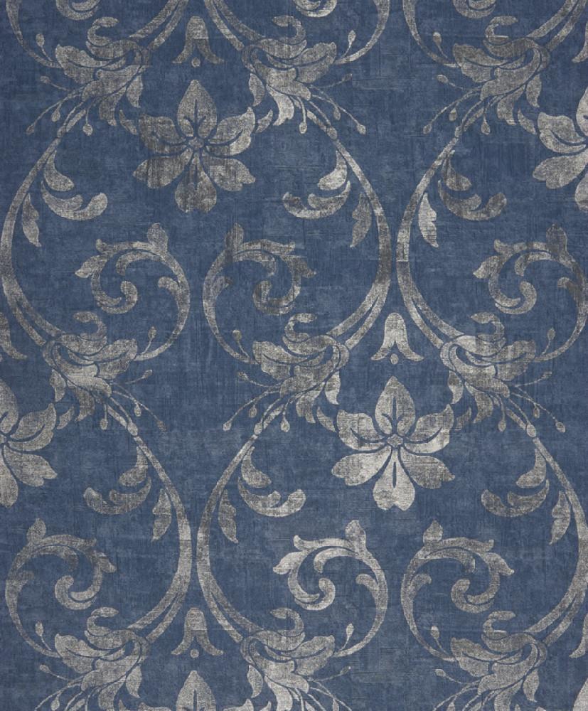 Papel pintado colecci n majestic for Papel pintado azul y plata